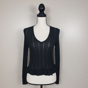TOP SHOP Black Ribbed Knit V Neck Peplum Sweater